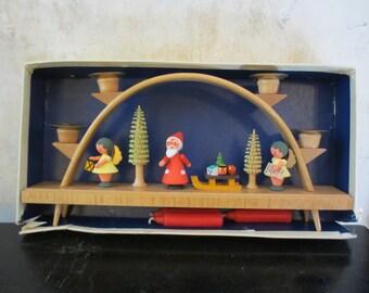 Erzgebirge Christmas candle arch / Expertic GDR German Democratic Republic / angels Santa Claus Christmas trees