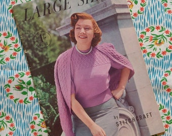 Vintage 1940s 1950s Knitting Patterns / Large Sizes Knitting Booklet / Dress Suit Sweaters Cardigans / Volup