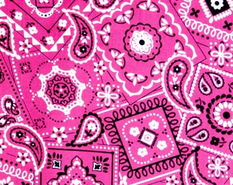 Pink Bandana fabric, 100% cotton fabric for general arts and crafts and all sewing projects.