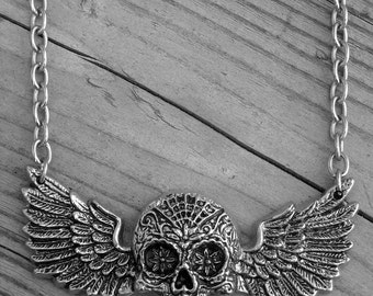 Silver Winged Day of the Dead Sugar Skull Necklace Halloween Dia De Los Muertos Skull with Wings Gothic Punk Rock and Roll Rocker Tattoo