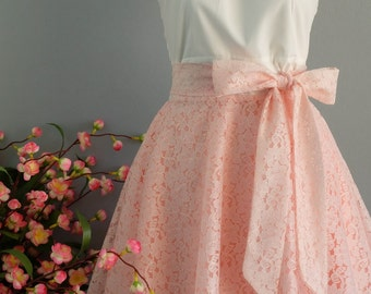 My lady - Spring Summer Sundress White Top Pink Lace Skirt Dress Pink Lace Bridesmaid Dresses Pink Party Dress Tea Dress XS-XL