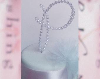 Monogram Initial Wedding Cake Topper - Pearl Cake Topper - Personalized Cake Topper - Pearl Letter Cake Topper - Letter P