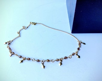 gold choker necklace gold collar necklace gold bead choker dainty gold necklace simple layering necklace bronze beads | Dinah gold choker