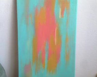 Turquoise Dreamer // Coral & Mustard // Abstract Painting