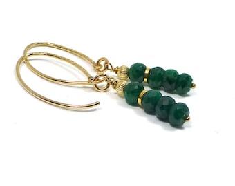 Gold Filled Emerald Earrings, Emerald Jewelry, May Birthstone, Green Stone Earrings,