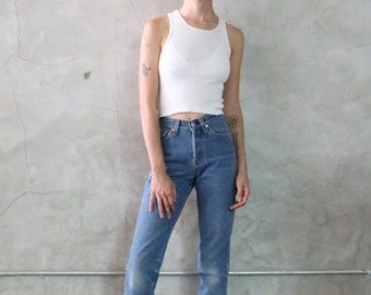 levis jeans, 501 high waisted, faded indigo denim, straight tapered jean, high rise, high waist, 70s -  80's vintage levis, womens xs