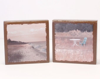 Wood Photo Blocks, End of Summer Photos, Summer Beach Photos, Cottage Decor, Home Decor, Gift for Her, Gift for Him, Recycled Wood Blocks