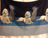 REDUCED Two Panels John Wolf Border Print Poodle Fabric Mid Century Novelty Print