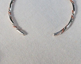 """Sterling Silver and Copper Twisted Wire Bracelet Bangle Handmade """"C"""""""