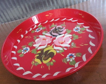 Vintage 60's Shabby Chic Multi-Colored Painted Florals Red Tin Tray - Patio - Deck - Serving - Entertaining - Drink Tray - Serving Tray