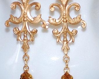 Bridal Earrings Filigree Brass Topaz  crystal vintage weddings bridesmaids long estate elegant  old hollywood