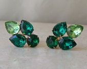 Vintage Chunky Earrings Green Glass Stones Clip On Earrings Designer Jewelry Mid Century Earrings Vintage 1960s