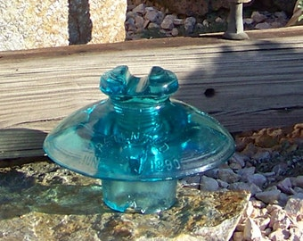 Vintage Blue Glass Insulator Patented 1890 Insulator Collector Telephone Lines Yard Art