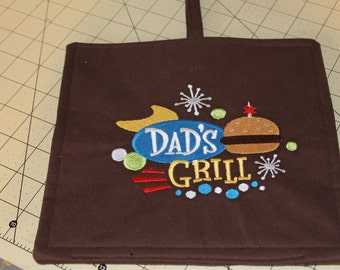 """Embroidered Hotpad/Potholder """"Dad's Grill"""""""