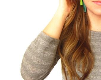 Leather Tassel Ear Jackets | Tassel Stud Earrings | Leather Tassel Earrings | Fringe Earrings