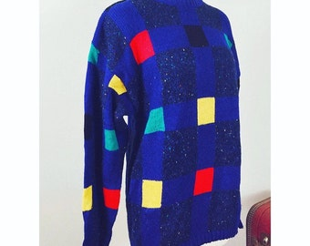 Vintage 80's Digital Pop Art Color Block Mens Pullover Sweater,  Concrete 80's Label, Mens S, College, Preppy, Hip Hop