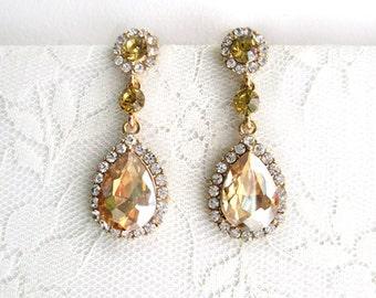Bridal Earrings, Wedding Earrings Dangle Hollywood, Wedding Jewelry,Bridal Champagne Pear Rhinestone, Evening, Teardrop,Gold,Bridesmaid Gift