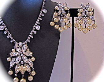 Vintage STATEMENT 50s HATTIE CARNEGIE Glam Demi Parure Diamonds And Pearls Choker Necklace Clip On Earrings
