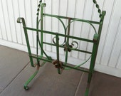 Magazine Holder Rack. Wrought Iron. Green. Vintage 1950s. Newspaper, Towel, File or Small Log Holder. Mid Century. Cottage Decor.
