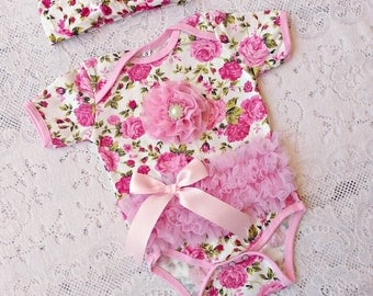 Floral Pink Girl romper bodysuit and headband set Baby NB-3months