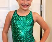 Mermaid Gymnastics Leotard  and Shorts 2t, 3t, 4t, 5t, 6,7,8,9,10,11,12,13, 14
