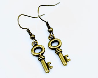 Antiqued Brass Keys . Earrings