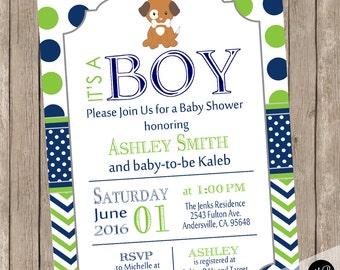 Baby Shower Invitation Puppy Theme Navy and lime green, puppy invitation, lime and navy, chevron, preppy, puppies, puppy modern invitation