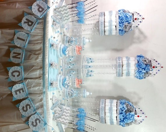 frozen theme baby shower candy buffet centerpiece with baby shower