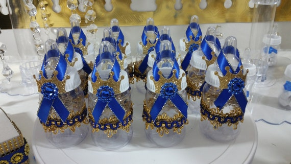 prince baby shower favors royal blue and gold baby bottle favors