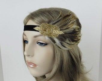 Roaring 20s, Great Gatsby headpiece, Gold Beaded headband, 1920s hair accessory, Vintage inspired 1920s headband, Flapper headband