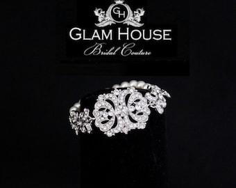 Bridal Pearl Bracelet,Three strand bracelet,statement bracelet,wedding jewelry,art deco bracelet,vintage wedding,filigree bracelet