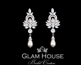 Zirconia Earrings,bridal earrings,pearl earrings,statement earrings,wedding jewelry,bridal jewelry,bridal accessories,Great Gatsby jewelry