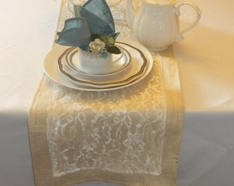Burlap Table Runner with Ivory Lace, Wedding, Party, Home Decor, Custom Sizes and Large Order Available
