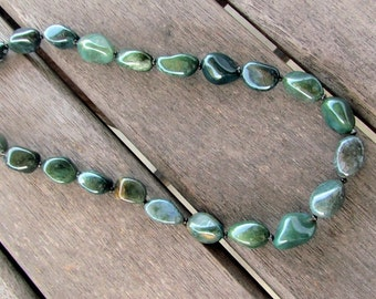Necklace of Natural Moss Agate Nuggets