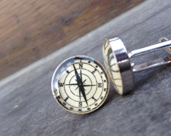 Compass Resin Cuff Links Silver Plated
