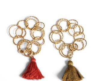 Chain Tassel Bracelet Gold, tassel bracelet, chunky gold chain bracelet, tassel colors
