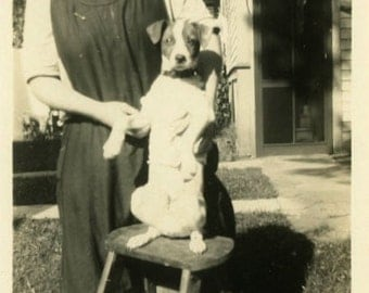 "Vintage Photo ""Showing Doggie New Tricks"" Snapshot Antique Photo Old Black & White Photograph Found Paper Ephemera Vernacular - 105"