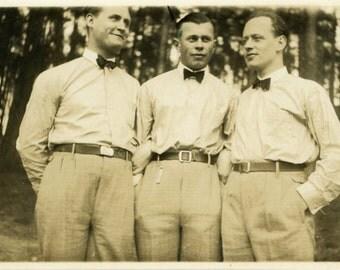 "Vintage Photo ""Bowtie Bros"" Snapshot Photo Old Antique Photo Black & White Photograph Found Photo Paper Ephemera Vernacular - 162"