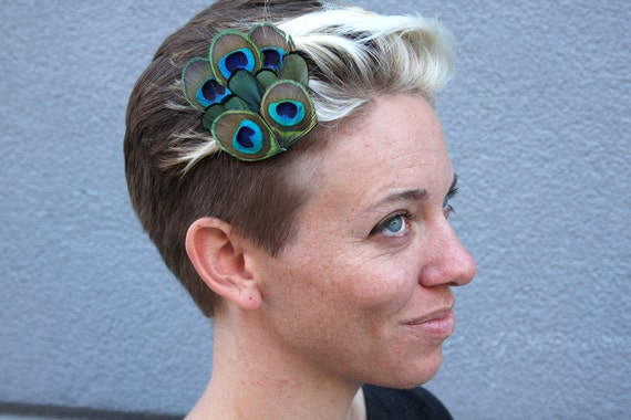 Metallic Lady Amherst Pheasant and Peacock Feather Fascinator Hair Clip