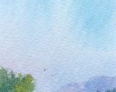 Original ACEO watercolor painting - The view ahead