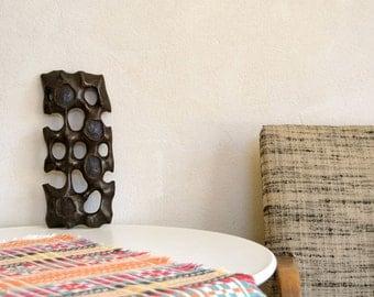 Mid Century Wooden Sculpture Wall Plaque Art Dark Brown Vintage