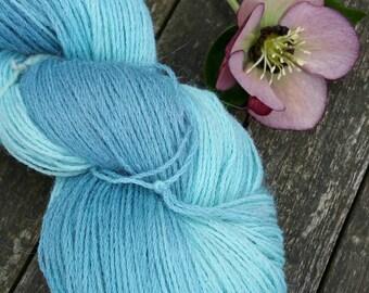 Teal Blue Green Hand Dyed Yarn, Alpaca Wool Blend Sock Yarn, fingering yarn, Yorkshire Rose Paco, 4ply yarn