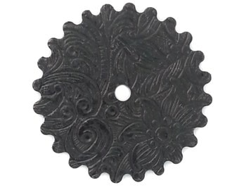 Steampunk FILIGREE FLORAL Cog Gears in Black Brass 25mm Qty 1 Assemblage Altered Art Made in the Usa