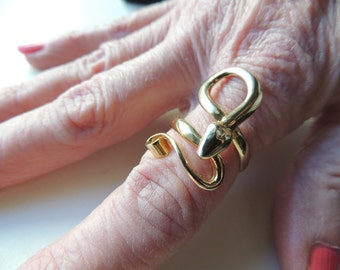 Sterling silver snake ring with gold wash   VJSE