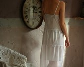 White cotton night gown, maxi dress, scalloped lace details