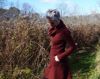 Organic Womens Clothing Pocket Sweater Dress Cowl Neck Organic Merino Wool Fall Fashion Eco Natural Merino Woodland Warm Wine Made to Order