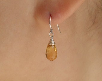 Citrine Jewelry Set/ Citrine Necklace and Earrings/Citrine Teardrop Necklace/Orange Gemstones Birthstone/Bridesmaid Gift/