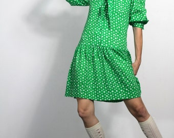 80s Vintage Dress Green Print Cotton Babydoll Dress