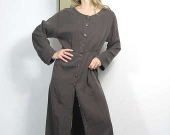 90s Vintage Drab Comfortable Maxi Dress Button Down Baggy Oversized Fall Dress