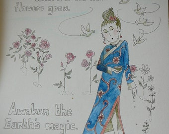 Earth magic harmony nature love garden of the heart syamarts 9x12 original drawing cards available